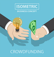 Isometric businessman hands buy and sell new idea vector image vector image