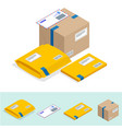 isometric set post office attributes postal vector image vector image