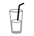 juice in cup glass and straw vector image vector image