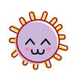 kawaii happy sun with cute eyes and cheeks vector image vector image