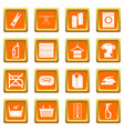 laundry icons set orange vector image vector image