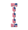 Letter I made of USA flags in form of candies vector image
