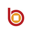 logo b alphabet and coin money symbol vector image