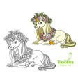 magical unicorn in a magnificent wreath roses vector image