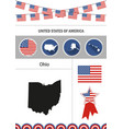 map of ohio set of flat design icons nfographics vector image vector image