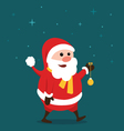 Merry little Santa Claus in the starry night vector image