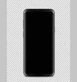 modern black smartphone isolated on transparent vector image vector image