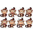monkey cartoon set vector image vector image