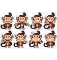 monkey cartoon set vector image