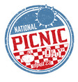 national picnic day sign or stamp vector image vector image