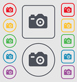 Photo Camera icon sign symbol on the Round and vector image