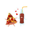 pizza and glass bottle of soda drink are friends vector image