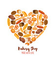 poster bread products heart shaped vector image