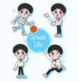 school boy pupil in different poses and actions vector image