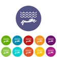 Scuba diver man in diving suit set icons vector image vector image