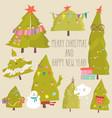 set cartoon christmas trees merry christmas vector image vector image