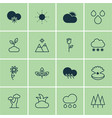 set of 16 nature icons includes sprout raindrop vector image vector image
