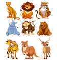 set wild animal character vector image