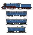 the vintage blue passenger steam train vector image vector image