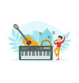tiny boy singing with microphone boy singing vector image vector image
