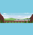 train traveling on bridge in summer landscape vector image vector image