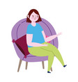 young woman sitting on chair cartoon isolated icon vector image vector image