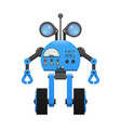 robot on wheels spy lenses and control panel vector image
