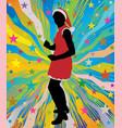 santa girl dancing on abstract background vector image