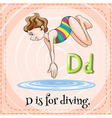 Alphabet D is for diving vector image vector image