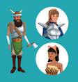 blue poster with viking man costume and icons vector image vector image