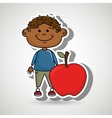 boy fruit cartoon food vector image