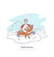 boy playing with dog in house backyard happy vector image vector image