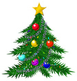 Christmas tree with baubles and garlands vector image vector image