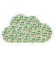 cloud mosaic of plant tree icons vector image