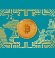 colorful bitcoin and world vector image