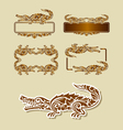 crocodile floral pattern decoration vector image vector image