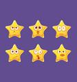 cute glossy star characters set bright star vector image vector image