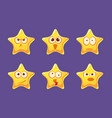 cute glossy star characters set bright star with vector image vector image