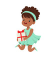cute happy little girl wearing magic mint dress vector image vector image