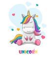 cute unicorn on a background hearts vector image vector image