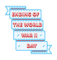 ending of the world war ii day greeting emblem vector image