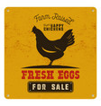 farm fresh eggs poster card on yellow vintage vector image vector image