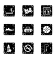 Fitness icons set grunge style vector image vector image