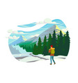 flat young man with winter clothes and backpack in vector image vector image
