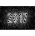 Glitter silver textured inscription 2017 vector image