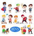 happy boys characters in various actions vector image