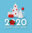 happy new 2020 year holiday greeting with 3d fir vector image vector image