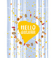 hello autumn lettering on an autumn leaf fall vector image vector image