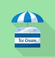 ice cream umbrella shop icon flat style vector image vector image