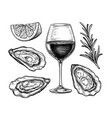ink sketch wineglass and oysters vector image vector image